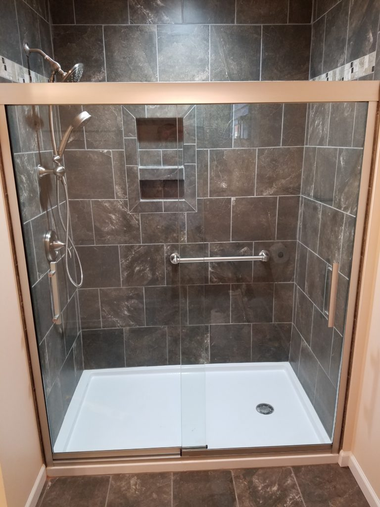 The shower that we tiled.