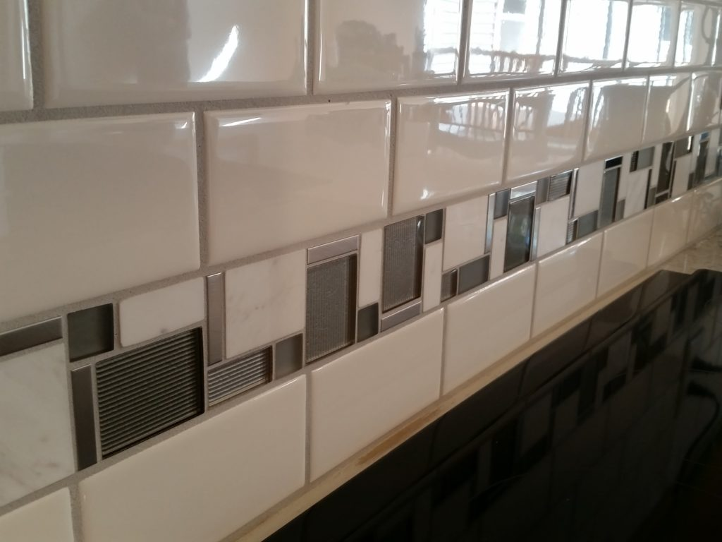 Another close-up view of the tile of the kitchen back splash.